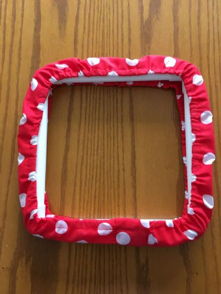 "Grime Guard for 11x11"" square frame, Red Polka Dots"